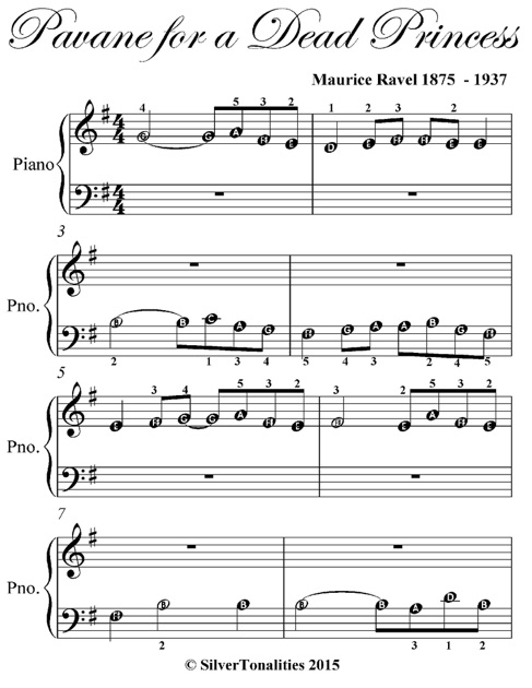 Pavane For A Dead Princess Beginner Piano Sheet Music By Maurice