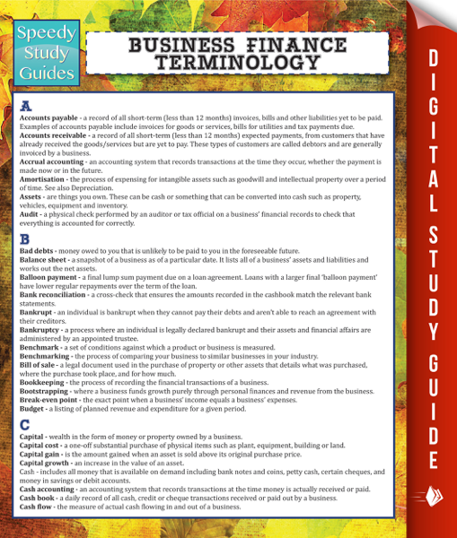 Business Finance Terminology (Speedy Study Guide)