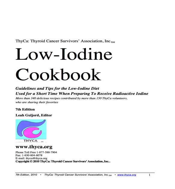 lowiodine cookbook by thyca thyroid cancer survivors