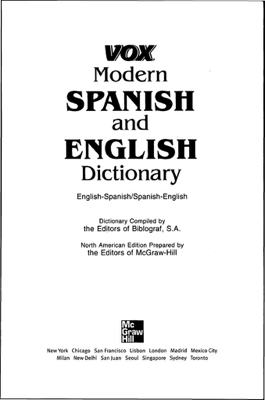 Vox Modern Spanish and English Dictionary - Vox book