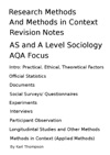Research Methods And Methods In Context Revision Notes For AS Level And A Level Sociology AQA Focus