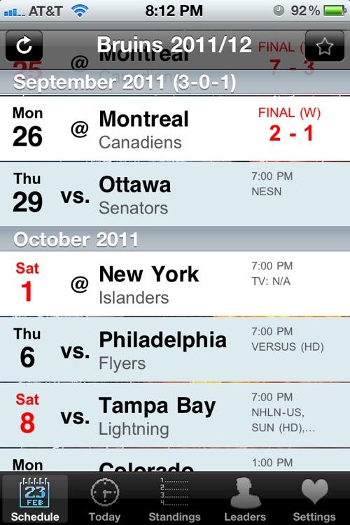 NHL Schedule 2009/10 screenshot-0