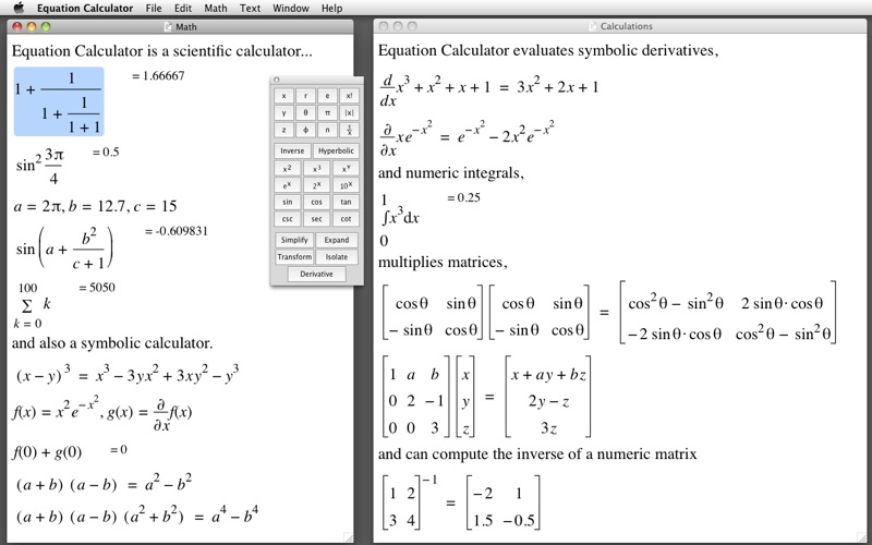 Equation Calculator Screenshot