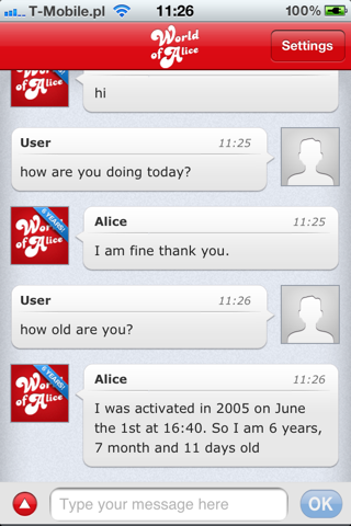 World of Alice chatbot screenshot one
