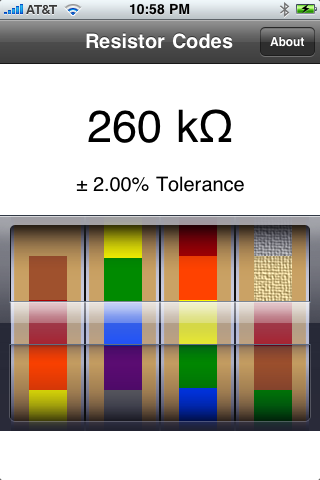 Resistor Codes screenshot one