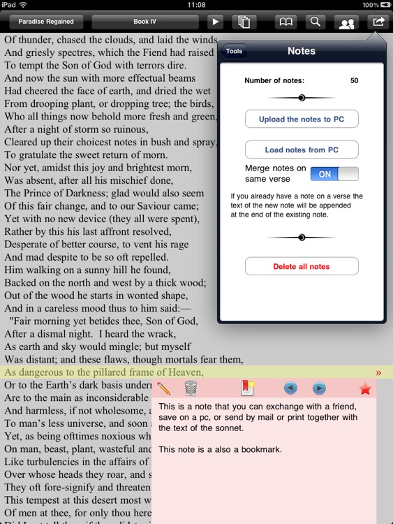 Milton: Complete poems for iPad