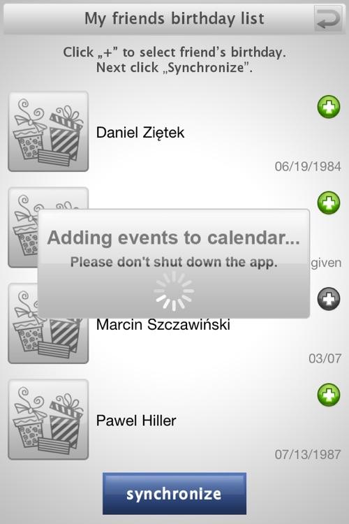 Birthday sync PLUS for Facebook screenshot-3