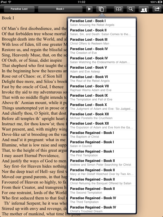 Milton: Complete poems for iPad