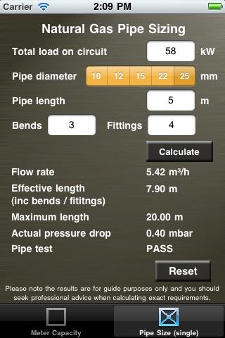 Gas Capacity & Pipe Size Calculator   App Price Drops