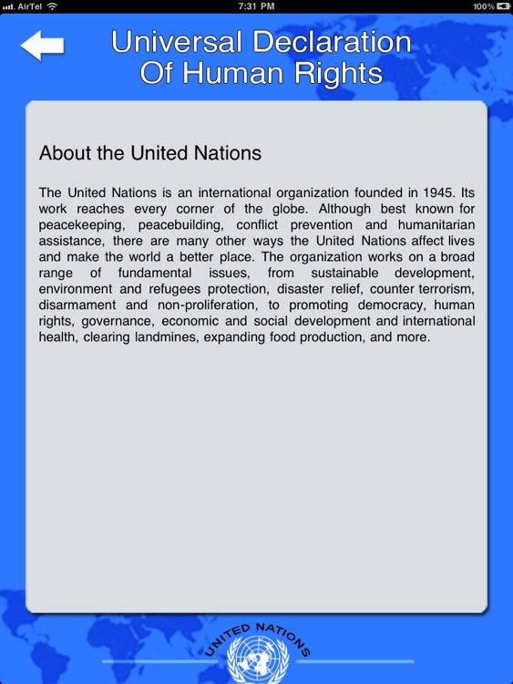 a description of the united nations The us mission to the united nations (usun) serves as the united states' delegation to the united nations usun is responsible for carrying out the nation's participation in the world body.