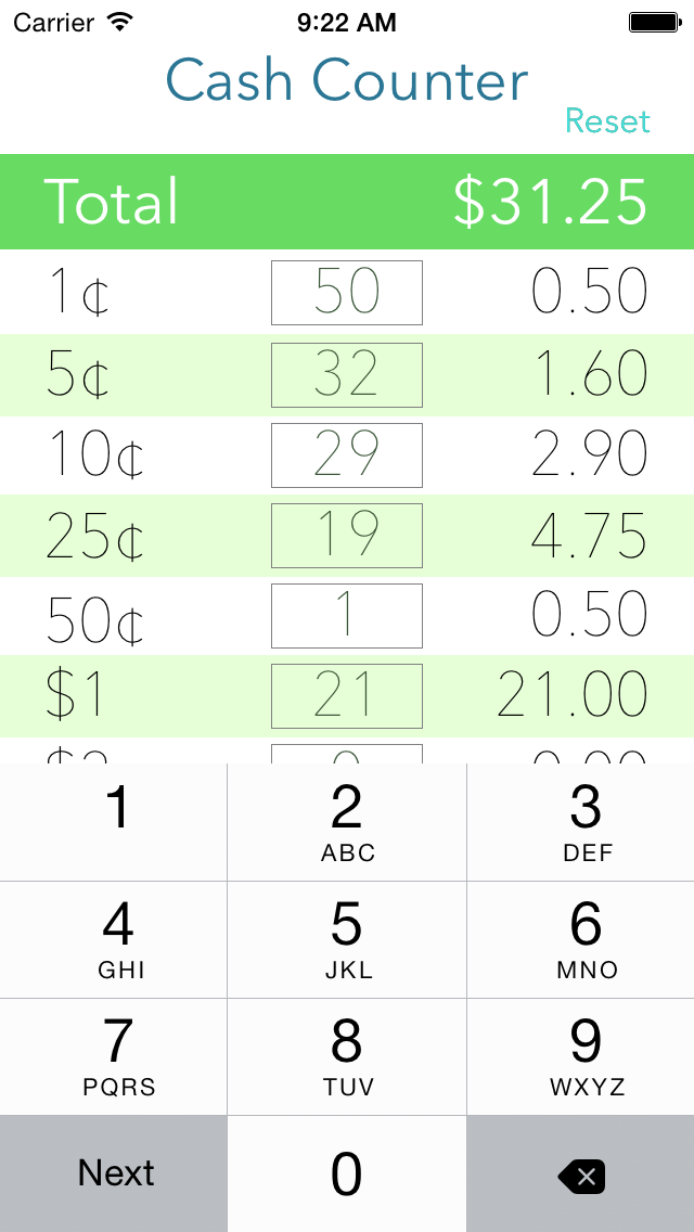 Screenshot for Cash Counter Lite in United States App Store
