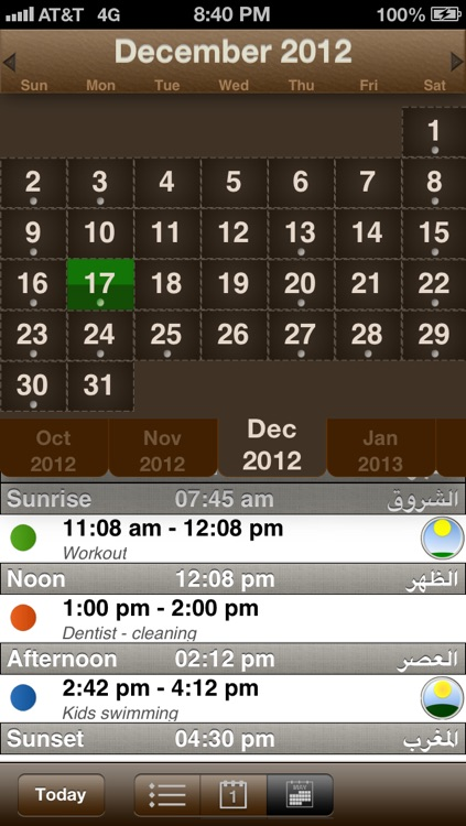 Guided Calendar ~ prayer times integrated in your calendar with Hijri date