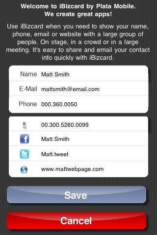 Screenshot of iBizCard