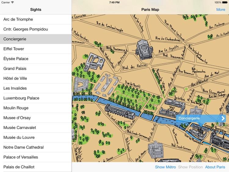 Paris Offline Map Guide for iPad