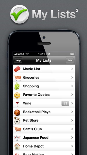 my lists on the app store
