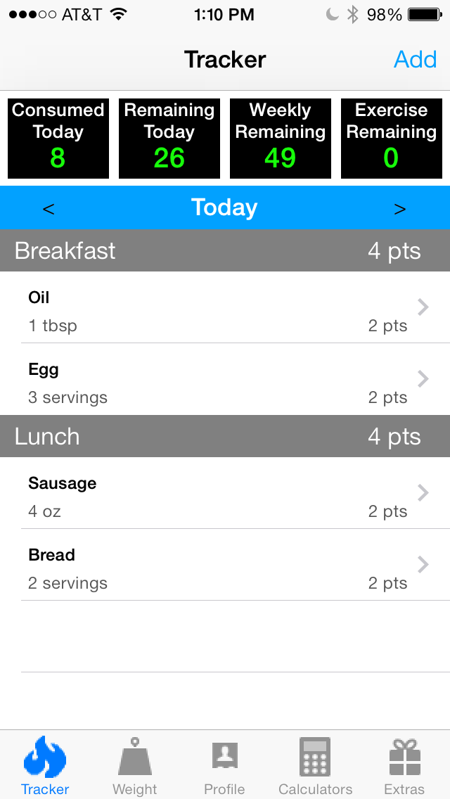 Pts. Calculator With Weight and Exercise Tracker for Weight Loss - Fast Food and Calorie Watchers Diary App by Awesomeappscenterのおすすめ画像1