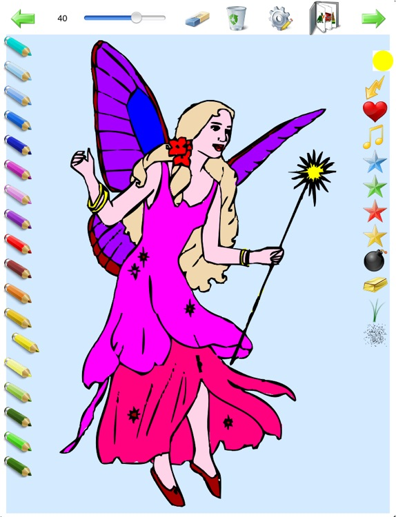 Coloring Book for Girls for iPad with colored pencils - 36 drawings to color with princesses, fairies, horses and more - HD screenshot-3
