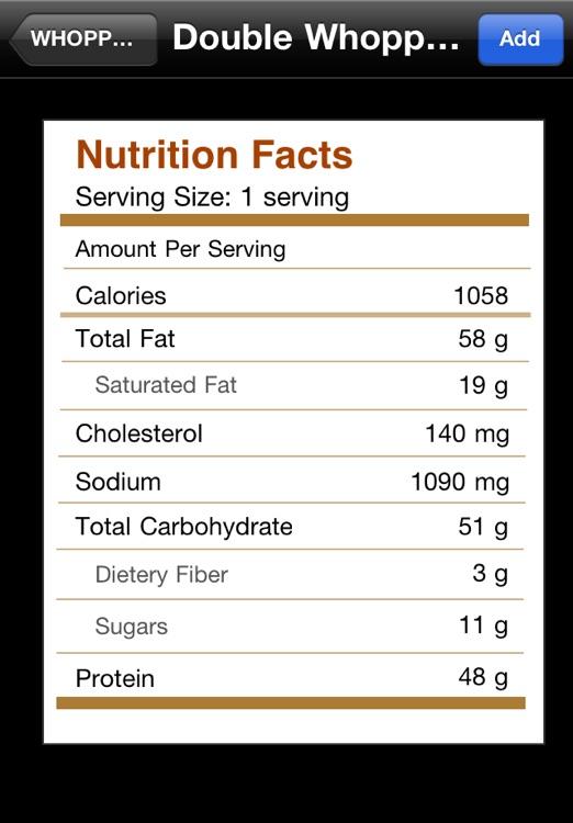 Fast Food Calories Pro screenshot-3