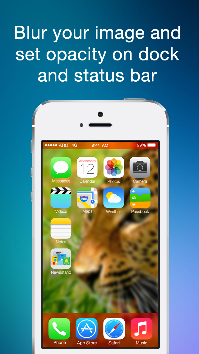 Color Statusbar and dock wallpaper creator with blur screenshot one