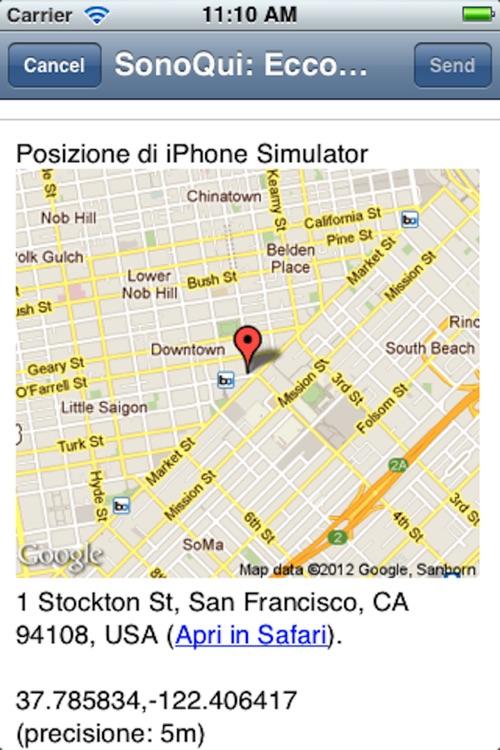 SonoQui - L'app per inviare la propria posizione e coordinate screenshot-3