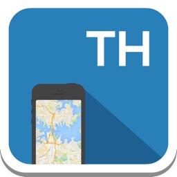 Thailand offline map, guide, weather, hotels. Free GPS navigation.
