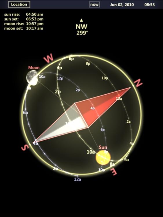 3D Sun&Moon Compass HD for iPad2 (Gyroscope enabled)
