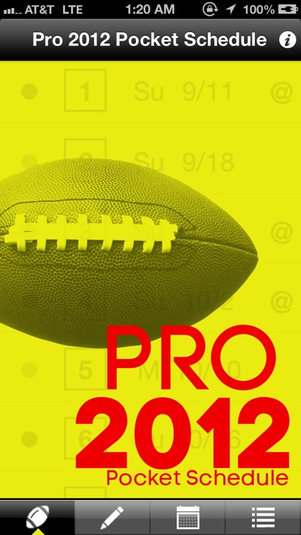 Pro 2012 Pocket Schedule screenshot-0