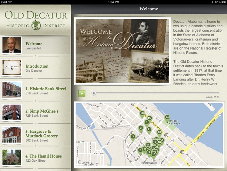 Old Decatur Historic Walking Tour for iPad - City of Decatur, AL screenshot-0