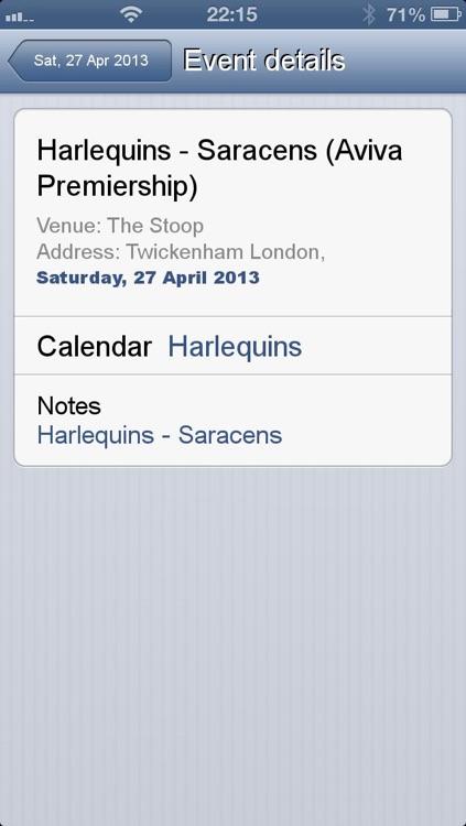 Fixtures for Aviva Premiership in your calendar screenshot-4
