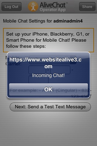 Screenshot of AliveChat Operator