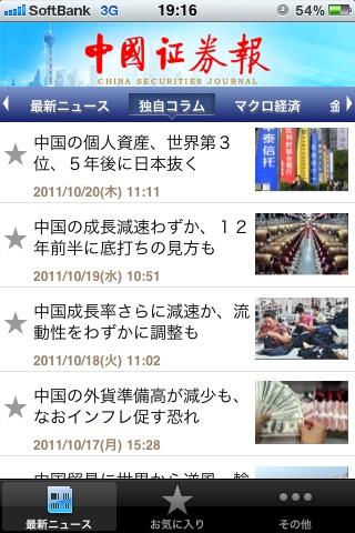 中国証券報ニュースリーダースクリーンショット1