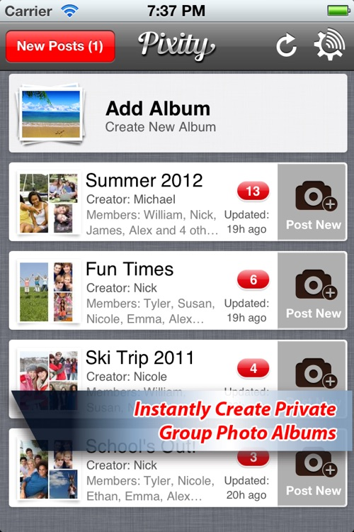 Pixity: Fun, Easy & Collaborative Sharing Of Photo Albums screenshot-0