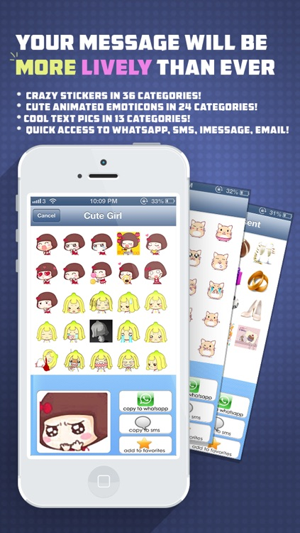 Whatsicons - Emoji Stickers, Emoticons, Text Pics for Whatsapp & Text Messaging