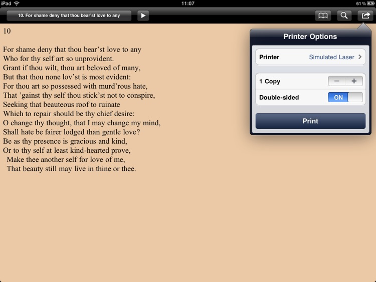 Shakespeare: Sonnets for iPad