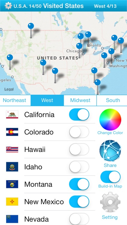 Visited States Map - USA Travel Log for Where You've Been