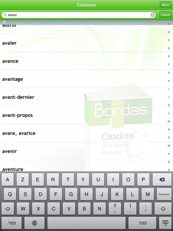 BORDAS 5000 Citations, le dictionnaire des citations de la langue française HD screenshot-3