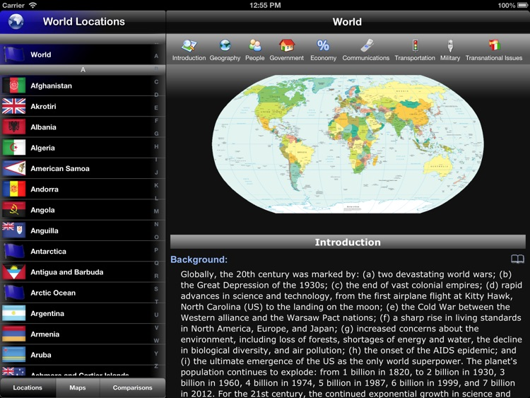 The World Factbook for iPad