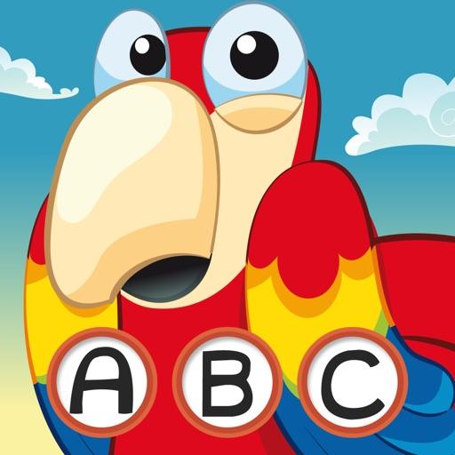 農行海盜!兒童遊戲: 學習 寫文字,並與海盜,船長,鸚鵡,百寶箱,鱷魚和船舶在海洋中的字母。免費,新,學習,幼兒園,學前班和學校!
