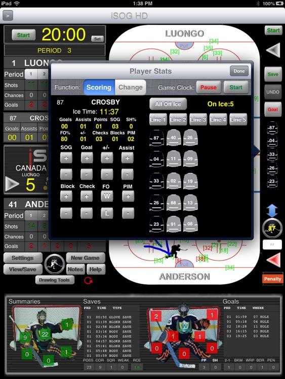 iSOG HD PRO Goalie & Player Stats Utility screenshot-3