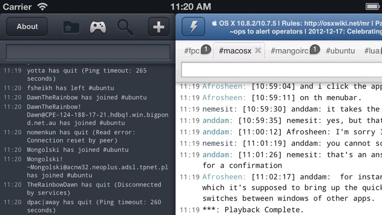 Mango HD Universal - IRC Chat client screenshot-3