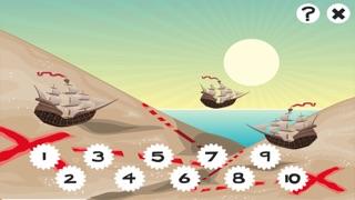 兒童遊戲2-5歲對海景的海盜:學會數數1-10幼兒園,學前班或幼兒園與海盜,船長,鸚鵡,百寶箱,鱷魚和船舶屏幕截圖2