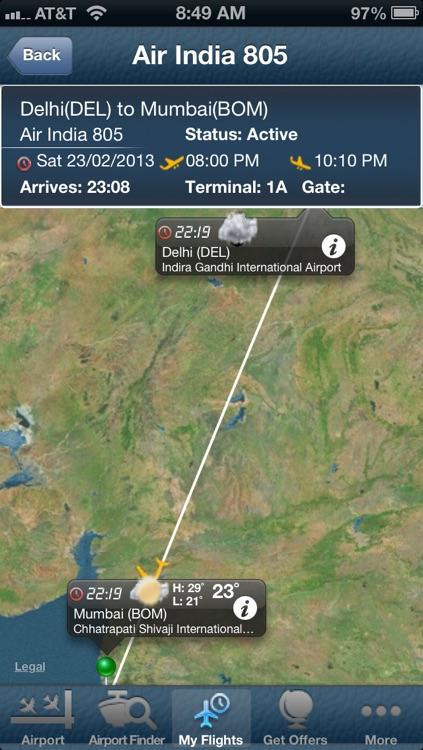 Delhi Airport + Flight Tracker Premium DEL go air Jet Spicejet indigo India airways