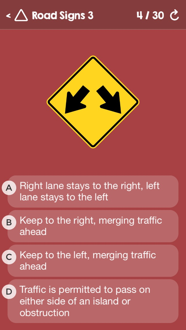 US Driving Knowledge Test Questions - Preparation for your Driver's License Written Exam - All States - DMV, DOL, or MVC - Free Drivers' Mock Tests Screenshot