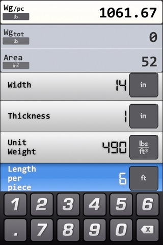 Screenshot of Metals and Materials Weight Calculator