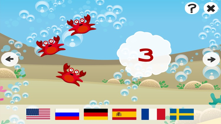Ocean Counting Game for Children: Learn to count the numbers 1-20 in 7 languages