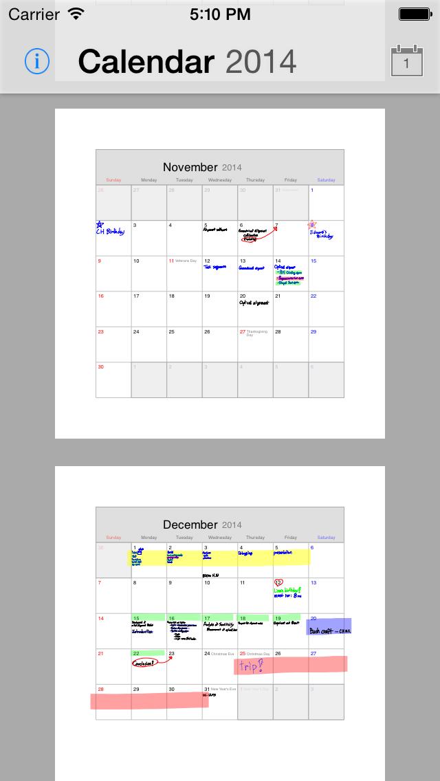 ポリカレンダー 2014 - スケジュールと手書き -のスクリーンショット5