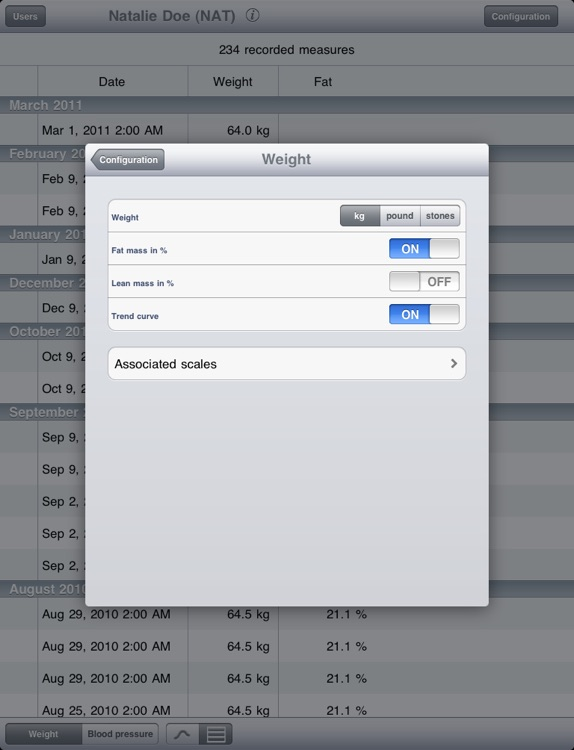 Wiscale - iPad version for weight and blood pressure only screenshot-3