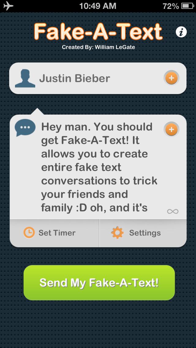 Fake-A-Text FREE [Fake Text Free & Fake A Call—Call It A Prank Conversation] Screenshot