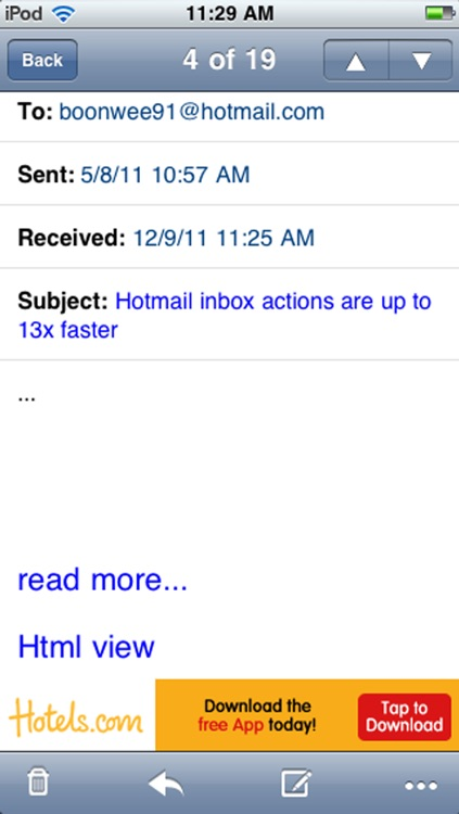 Windows Live Hotmail PUSH emails for iPhone & iPad screenshot-3