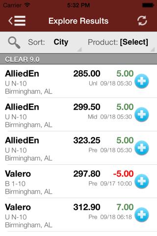 Screenshot of OPIS Mobile Real-Time Racks